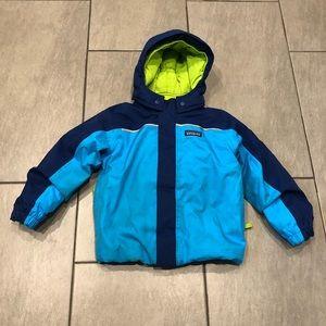 Patagonia Boys Puffer Jacket Hoodie Blue Green